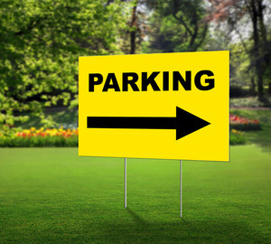 Lawn Sign- Parking with Arrow