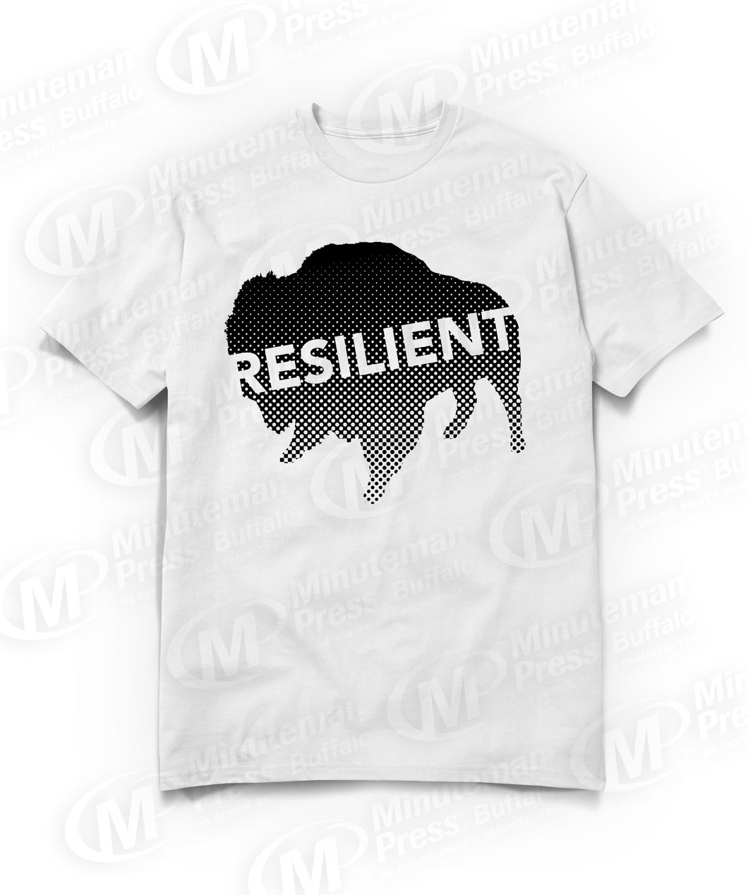 resilient text on black buffalo on white t-shirt
