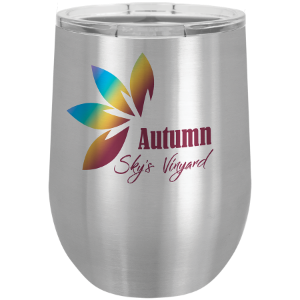 Stainless Steel 12 oz. Sublimatable Polar Camel Stemless Wine Tumbler with Lid