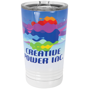 white polar camel pint with sublimated design