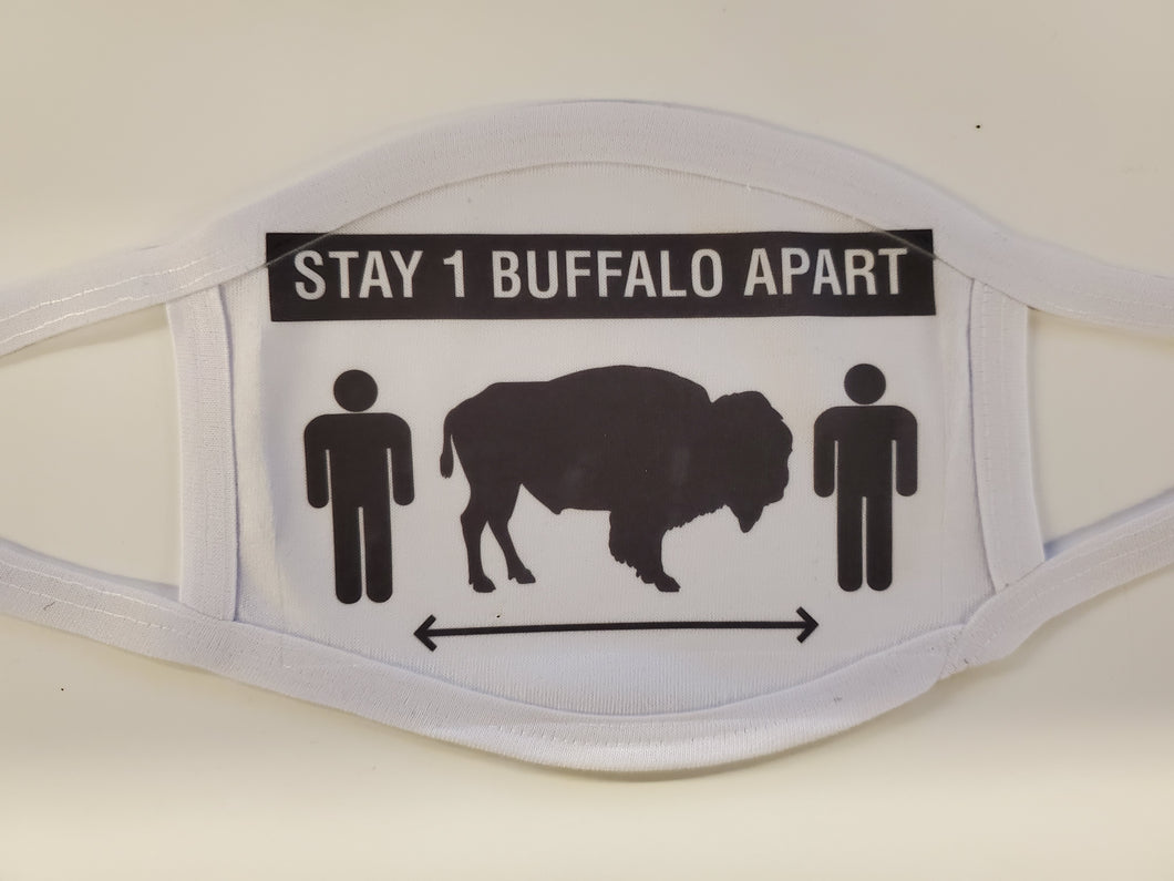 stay one buffalo apart white cotton face mask