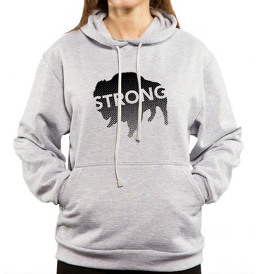 strong text on black buffalo on gray hoodie