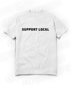 support local text on white t-shirts
