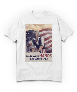 uncle sam saying wash your hands for america on white t-shirt