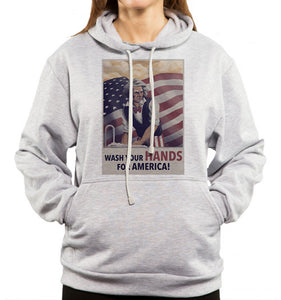 uncle sam saying wash your hands for america on gray hoodie