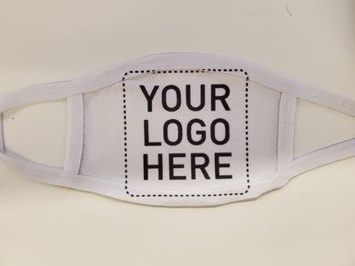 custom white cotton face mask with own logo