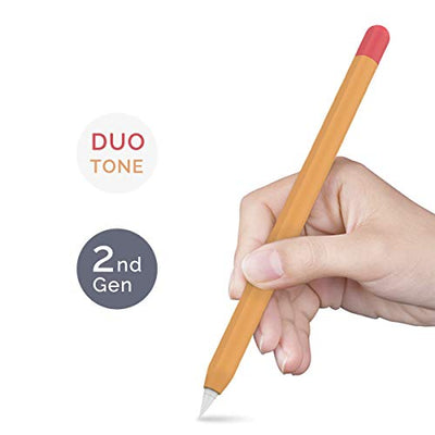AHASTYLE Duotone Case Cover Silicone Sleeve Skin Compatible with Apple Pencil 2nd Generation, iPad Pro 11 12.9 inch 2018(Orange, Red)
