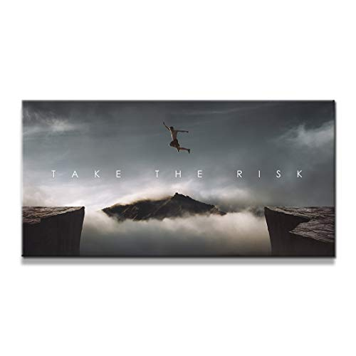 "IKONICK Take The Risk Motivational Canvas Wall Art, Inspiration Collection for Office and Home Decor, Inspiring Canvas Art - 40"" x 20"".75"" Depth No Frame"