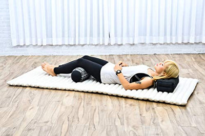 Leewadee Small Yoga Bolster Pilates Supportive Roll Cushion Neck Pillow Eco-Friendly Organic and Natural, 22x6x6 inches, Kapok, Black