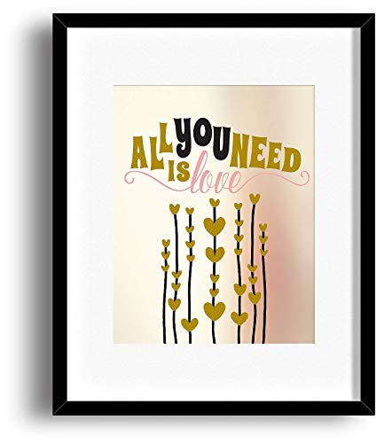 All You Need is Love by the Beatles Poster - Inspired Love Song Lyric Visual Art Print - Classic Rock Music Wall Decor by the Beatles