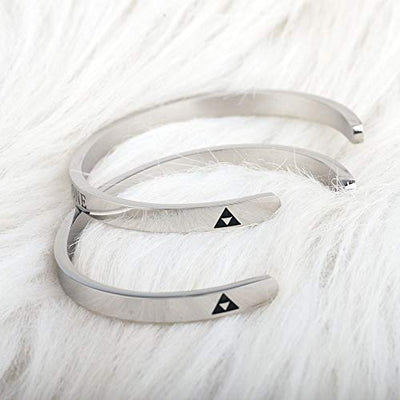 The Legend of Zelda Bangle It's Dangerous To Go Alone Take This Cuff Gamer Gift Game Lover Gift Triforce Charm Bracelet (Bangle set)