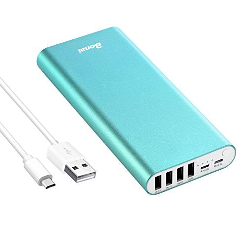 Portable Charger, BONAI 20000mah 4.0A Max Input 4 USB Output Power Bank, Aluminum Polymer External Battery Pack Travel Compatible with iPhone Charger iPod iPad Samsung Smartphone Tablet - Mint
