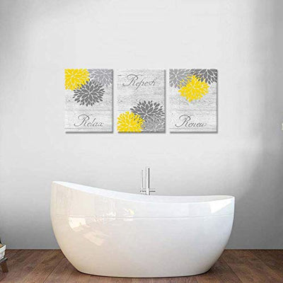 "ZingArts 3 Pieces Yellow Gray Bathroom Wall Art Prints Dahlia Flowers Relax Refresh Renew Signs on Rustic Wood Background Stretched and Framed For Bedroom Living Room Ready To Hang 12""x16""x3pcs"
