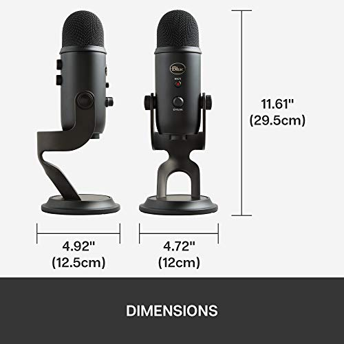 Blue Yeti USB Mic for Recording & Streaming on PC and Mac, 3 Condenser Capsules, 4 Pickup Patterns, Headphone Output and Volume Control, Mic Gain Control, Adjustable Stand, Plug & Play – Blackout