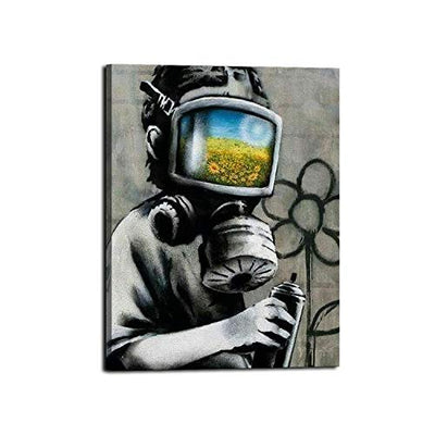 Lib Pictures for Bedroom Wall Decor, Gas Mask Boy Banksy Wall Art, HD Print of Modern Art Graffiti Decorations for Living Room 16 x 20 Inch