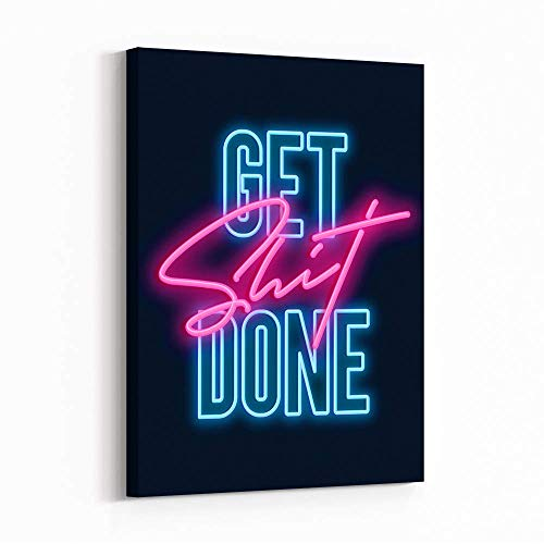 Inktuitive 'Get It Done' | Inspirational Quote Canvas Art | 16x12 inches | Don't Let Distractions Derail Your Path to Greatness