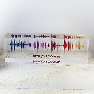 Artblox Soundwave Art Custom Gifts | Any Recording or Song On Acrylic Block | Unique Recording Sign Cool Valentines Day Gifts For Him | Wedding Gifts For Women | Mothers Day Gifts For Boyfriend