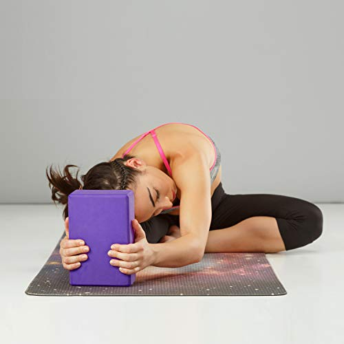 "REEHUT (2-PC Yoga Blocks, 9""x6""x4"" - High Density EVA Foam Blocks to Support and Deepen Poses, Improve Strength and Aid Balance and Flexibility - Lightweight, Odor Resistant(Purple)"