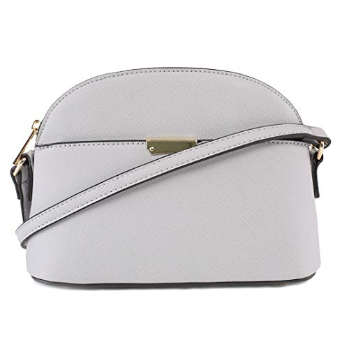 EMPERIA Ava Small Cute Saffiano Vegan Faux Leather Dome Crossbody Bags Shoulder Bag Purse Handbags for Women Light Gray