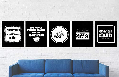 "Motivational Wall Art Posters Pack - 8"" x 10"" - Inspirational posters for office, gym, or bedroom - Unframed Wall Art Room Decor Printed on Premium Cardstock Paper in the USA (Black 5 Pack 8 x10)"