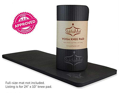 "SukhaMat Yoga Knee Pad - NEW! 15mm (5/8"") Thick - The best yoga knee pad for a pain free Fitness Exercise Workout. Cushions pressure points. Complements your full-size yoga mat. (Black)"