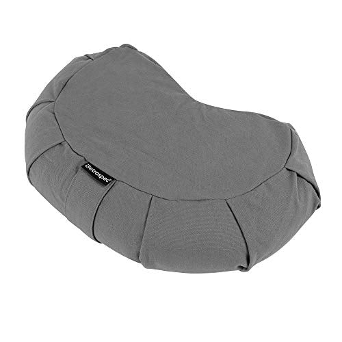 Retrospec Sedona Zafu Yoga Meditation Cushion with Carry Handle and Filled with buckwheat Hulls; Slate Gray, Crescent