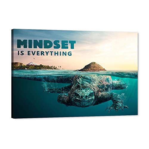 "Mindset is Everything - Inspirational Canvas Ocean Wall Art Motivational Marine Life Whale Picture, Framed Artwork for Home Office Wall Decor, Paintings for for Home Bedroom Ocean Decor (12""Wx18""H)"