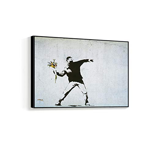 "NWT Framed Canvas Wall Art for Living Room, Bedroom Banksy Theme Canvas Prints for Home Decoration Ready to Hanging - 16""x24"" inches"