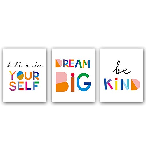 "Watercolor Words Inspirational Quote Modern Minimalist Typography Art Print Set of 3 (8""X10"") Canvas Painting,Motivational Quote Phrases Wall Art Poster For Nursery or Kids Room Home Decor,No Frame"