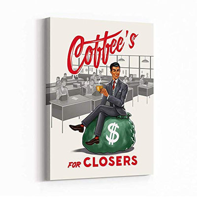 Inktuitive 'Coffee for Closers' Inspirational Wall Art | Workplace Quote Canvas Print | Motivational Décor for Bedroom, Living Room & Business Office | 16 x 12 Inches