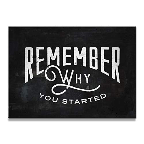 "IKONICK Remember Why You Started Motivational Canvas Wall Art, Inspiration Collection for Office and Home Decor, Inspiring Canvas Art - 18"" x 12"", 1.5"" Depth No Frame"