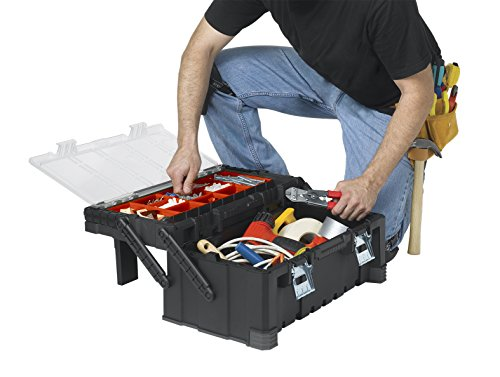 KETER 22 Inch Cantilever Plastic Portable Tool Box Organizer with Metal Latches for Small Parts, Hardware and Tool Storage and Organization