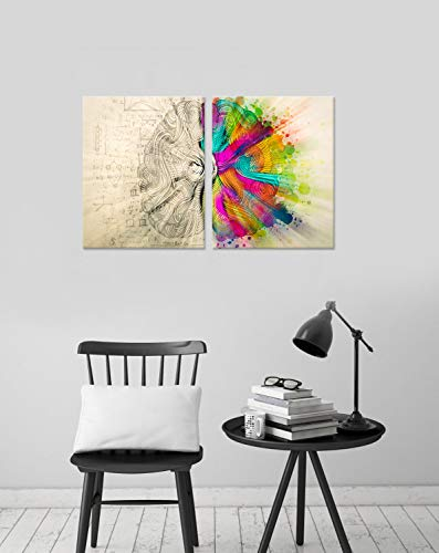 Hello Artwork Modern Abstract Canvas Wall Art 2 Panel Set Left and Right Brain Canvas Wall Art Inspiration Motivation Science Decoration Artwork Stretched and Framed for Classroom Ready to Hang
