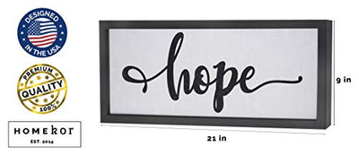 Hope Sign Wall Art Decor Canvas Framed 21 x 9 Inspirational Decorative Picture