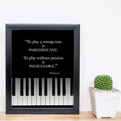"Beethoven Quotes Wall Art- ""To Play w/o Passion is INEXCUSABLE""- 8 x 10"" Motivational Art Wall Print- Ready to Frame. Modern Home Décor, Studio & Office Décor. Perfect Gift to Inspire & Encourage!"