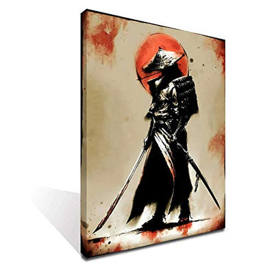 iFine Art Samurai Warrior Wall Art Framed Oil Paintings Printed on Canvas for Home Decorations Home Decor Pictures Modern Artwork Hanging for Living Room Bedroom Ready to Hang