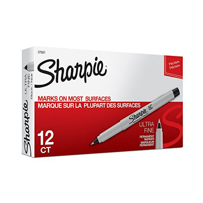 Sharpie Permanent Markers, Ultra Fine Point, Black, 12 Count