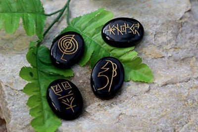 Black Agate Engraved Usui Stones