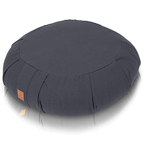 Seat Of Your Soul Meditation Cushion Gray – 10 Colors Round Yoga Pillow; Zipper Organic Cotton Zafu Cover & Extra Liner to Adjust USA Buckwheat Hulls; Floor Pouf for Sitting Kids, Men or Women