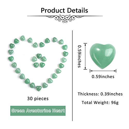 "Jovivi Healing Crystal Natural Green Aventurine Love Heart Stones Bulk Pocket Worry Stone Gemstone Therapy Chakra Balancing Reiki Yoga Meditation Home Decoration, 0.6"",Pack of 30"