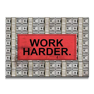 "IKONICK Work Harder Motivational Canvas Wall Art, Money Collection for Office and Home Decor, Inspiring Canvas Art - 12"" x 18"", 0.75"" Depth"