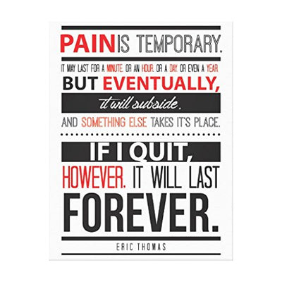 "VEHFA Eric Thomas Inspirational Quote Pain is Temporary Canvas Wall Art for Home Decoration Wooden Framed 12"" X 16"""