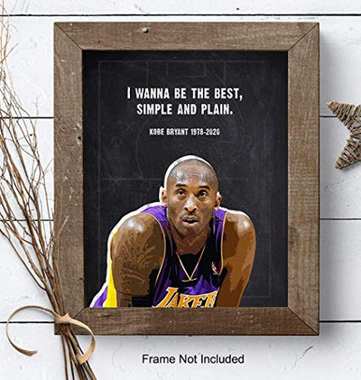 Kobe Bryant Quote, Wall Art Print - 8x10 Photo Poster - Motivational Gift for LA Lakers, Sports, Basketball Fan, Coach, Athlete, Men, Husband, Him - Home or Office Decor, Man Cave - Unframed Picture