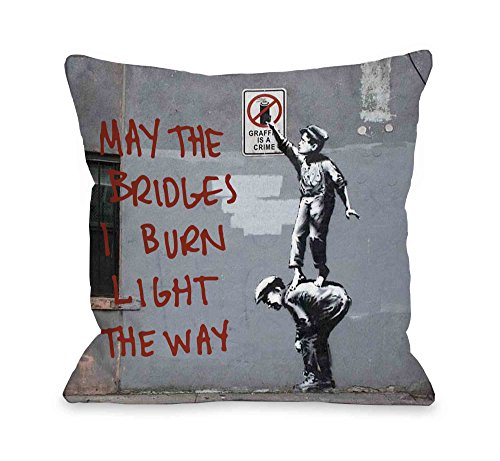 "One Bella Casa Crime Burn Bridges Throw Pillow by Banksy, 18""x 18"", Gray/Red"