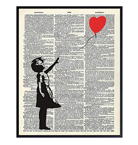 Banksy Wall Art - Upcycled Dictionary Graffiti Art Print, Girl With Balloon 8x10 Street Art Poster, Home Decor - Urban Wall Art Print and Room Decorations - Makes a Great Gift - 8x10 Photo Unframed