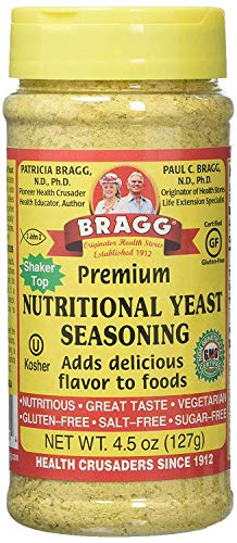 Bragg Nutritional Yeast Seasoning – Vegan, Gluten Free Cheese Flakes – Good Source of Protein & Vitamins – Nutritious Savory Parmesan Cheese Substitute – Non GMO Verified, 4.5 ounce