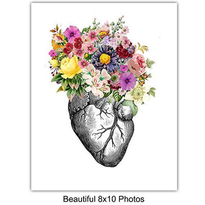 Original Flower Organs Wall Art Print Poster Set - Unique Steampunk Anatomy Home Decor for Dr Office - Gift for Doctor, Physician, Nurse, PA - 8x10 Unframed Photos - Heart, Lungs, Brain, Intestines