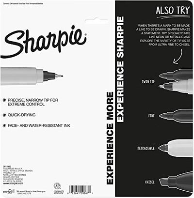 Sharpie 1949558 Color Burst Permanent Markers, Ultra Fine Point, Assorted Colors, 24-Count