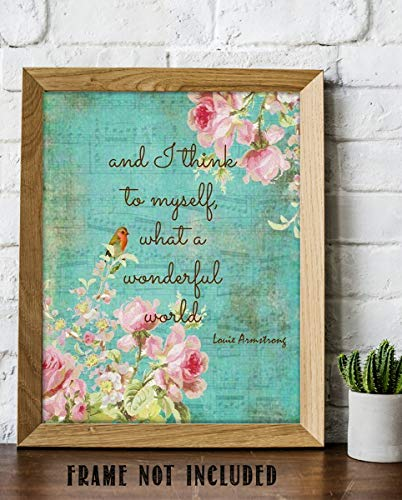 """And I Think to Myself""-Louie Armstrong-Song-Word Art-8 x 10 Wall Art Print. Lyrics on Distressed Floral Sheet Music Poster-Ready To Frame. Home-Studio-Bar-Cave Decor. Perfect Art Gift for Jazz Fans."