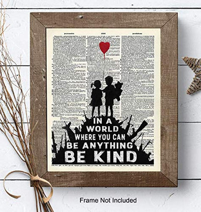 Banksy Graffiti Wall Art - Upcycled Dictionary Art, Modern Home Decor, Urban Street Art 8x10 Poster Print - Unique Room Decorations for Office, Bedroom, Living Room - Great Gift - Photo Unframed